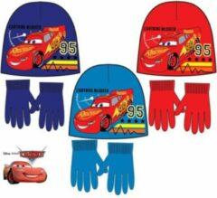 Merkloos / Sans marque Cars turquoise muts + handschoenen maat 52
