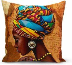Blauwe Zijou Sierkussen African Woman - stijlvol en uniek woonkamer accessoires