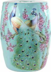 Fine Asianliving Keramische Kruk Porselein Stoel Pauw Blauw B33xH45cm Chinese Meubels Oosterse Kast