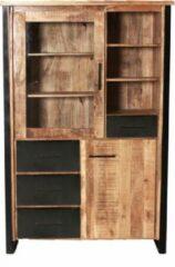 Bruine BELFURNID Belfurn - San remo - vitrinekast 120 cm in mango hout