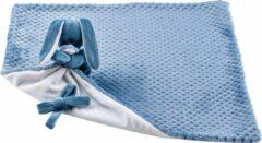 Nattou Konijn Lapidou - Knuffeldeken met Fopspeenhouder - 50 x 50 cm - Blauw / Wit