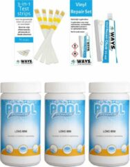 Pool Power Poolpower - Voordeelset - Chloortabletten voor zwembaden - 3 kilogram & WAYS Reparatieset en Teststrips