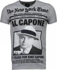Local Fanatic Al Capone - Rhinestone T-shirt - Grijs Al Capone - Rhinestone T-shirt - Grijs Heren T-shirt Maat XL