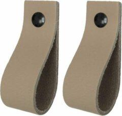Handles and more Leren handgrepen / Lus - 2 stuks - TAUPE - maat S (15,8 x 2,5 cm) - incl. 3 kleuren schroefjes