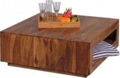 Wohnling Couchtisch MUMBAI Massiv-Holz Sheesham 88 x 88 cm Design Wohnzimmer-Tisch ausziehbar Landhaus-Stil Beistelltisch