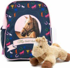 B&B Slagharen Rugtas blond Paard - Peuter Rugzak - 29 x 23 x 14 cm - Roze glitters- Meisjes rugtas - incl Paarden knuffel - pluche Pony 22 cm - licht bruin