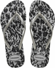 Zilveren Havaianas Slim Animals Grey Sil Dames Slippers - Grey Silver - Maat 35/36
