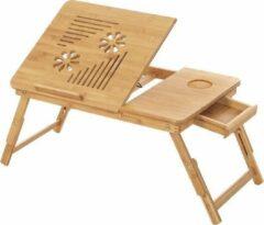 MIRA home MIRA Laptopdesk - Inklapbaar - Smal - Kantoor - Bamboe - Bruin - 55 x 35 x 29 cm