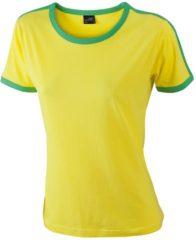 Gele James & Nicholson Geel met groen dames t-shirt L