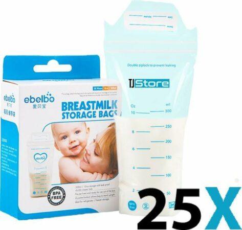 Afbeelding van TJ Store 25 stuks 300ml - borstvoeding zakjes - moedermelk zakjes - moedermelk bewaarzakjes - bewaarzakjes met datumsticker - bewaarzakjes - moedermelk bewaarzakjes - borstvoeding bewaarzakjes