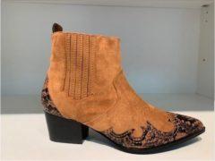 Merkloos / Sans marque Enkellaars met Snakeprint Cognac - maat 40