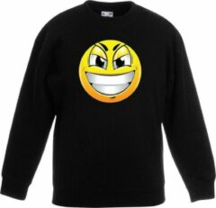 Bellatio Decorations Smiley/ emoticon sweater ondeugend zwart kinderen 9-11 jaar (134/146)