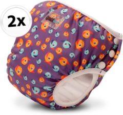 Bambinex wasbare zwemluier en oefenbroekje - 2 stuks - Lucky purple - maat XS