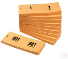 Office Nummerblok 42x105mm nummering 1-1000 oranje 10 stuks