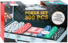 Pokerset - aluminium koffer - 300 fiches - 5 dobbelstenen - speelkaarten - dealer chip