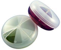 Merkloos / Sans marque 1 Pillendoos kunststof rond draaibaar deksel 3 vaks - Rood/groen/paars