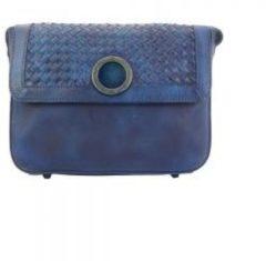 San Lorenzo Firenze Borsa a tracolla con pattina Luna in pelle invecchiata Blu scuro Made in Italy produzione di pelletteria toscana