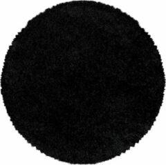 Zwarte SYDNEY SHAGGY Himalaya Monaco Soft Rond Shaggy Hoogpolig Vloerkleed Black- 160 CM ROND