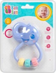 Paarse BamBam Bam Bam Rammelaar - Bijtring - Olifant - Play to Learn - Babyspeelgoed