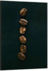 Bruine KuijsFotoprint Dibond –Rij Koffiebonen– 100x150cm Foto op Aluminium (Met Ophangsysteem)