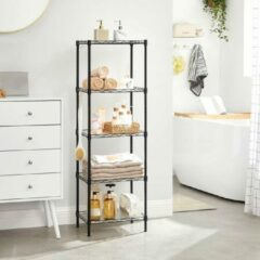 Songmics Keukenplank, metalen plank, staande plank, badkamerplank met 4 haken, PP panelen, verstelbare planken, belastbaar tot 100 kg, voor kleine kamers, badkamer, zwart LGR115B01