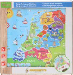 Paarse Marionette Puzzel Nederland - Houten Puzzel - Landkaart Nederland - 13 stukken - Hout