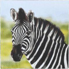 Esschert Design Servetten Zebra 33 X 33 Cm Papier Zwart/wit