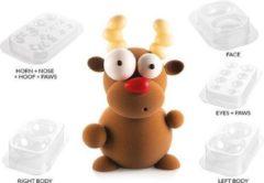 Transparante Silikomart Chocolade kit 3D - Rudolf het rendier