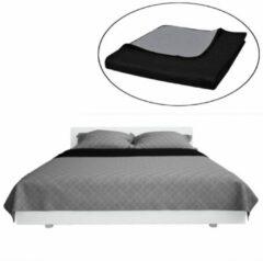 Zwarte VidaXL Dubbelzijdige quilt bedsprei zwart/grijs 170 x 210 cm