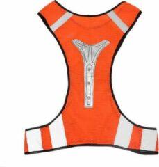 KW® LED X-vorm protectievest oranje   rode led-verlichting   Goed zichtbaar bij weinig of geen licht   reflecterend sport hesje   hardlopen rennen fietsen