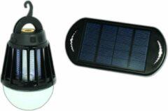 Zwarte POWERplus Mosquito USB & Solar Oplaadbare LED Verlichting met Electrische Vliegenvanger | Tentlamp UV Vliegenlamp voor camping - boot - tent | Insectenverdelger | Vliegenvanger - Muggenvanger Lamp Campinglamp