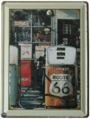 Groene Signs-USA Route 66 Gasstation - Retro Wandbord - Metaal - 40x30 cm