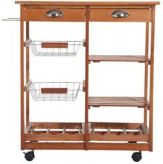 HOMCOM Küchenwagen aus Holz 2 Schubfächer und Flaschenablage Küchentrolley Servierwagen Rollwagen Bestelltisch