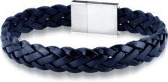 Donkerblauwe Frank 1967 Leather 7FB 0381 Leren Heren armband - 21 cm - Zilverkleurig / Donker Blauw