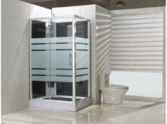 Saqu Douchecabine Links 120x90x225 cm Semi-gesatineerd Glas / Aluminium Mat