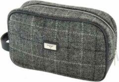 Grijze Glen Appin of Scotland Unieke toilettas van echte Harris Tweed | Grey Check| Made in Scotland