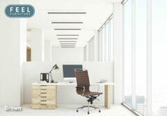 Feel Furniture - Luxe design bureaustoel van 100% rundleer - Hoge rugleuning - Donkerbruin