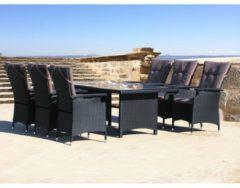 Polyrattan Set 13tlg mit Tisch 180x100cm Sitzgruppe Schwarz Essgruppe Sitzgarnitur Famous Home Schwarz/Anthrazit/Nussfarben