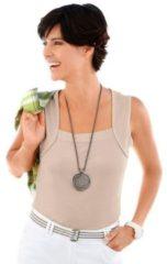 Naturelkleurige Shirt-top met gepaspeleerde hals
