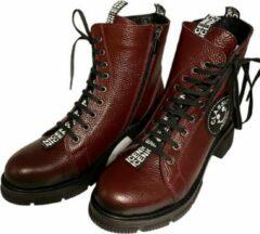 Bordeauxrode La Pèra Leren Veter Boots Cassido Enkellaarsjes Bordeaux Dames - Maat 37