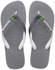 Grijze Havaianas Brasil Mix Slippers Unisex - Steel Grey/White/White