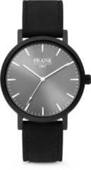 Frank 1967 Watches 7FW 0015 Stalen Horloge met Leren Band - Ø42 mm - Grijs / Zwart