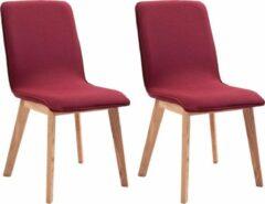 Merkloos / Sans marque Eetkamerstoelen Stof Rood 2 STUKS / Eetkamer stoelen / Extra stoelen voor huiskamer / Dineerstoelen / Tafelstoelen / Barstoelen