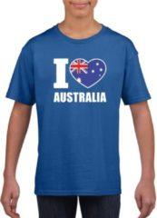 Blauwe Shoppartners Blauw I love Australie supporter shirt kinderen - Australisch shirt jongens en meisjes S (122-128)