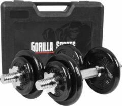 Zilveren Gorilla Sports Dumbellset 20 kg -Gietijzer -incl. Koffer