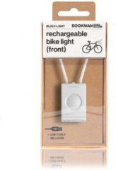 Bookman Block Fietsverlichting - LED Voorlicht - Oplaadbaar via USB - Compact Design - Wit