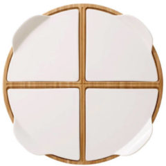 Witte Villeroy & Boch Pizza Passion Partyschaal - Rond - 5 delig - Porselein/Hout