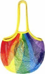 Paarse FineGoods Nettas - regenboog boodschappen tas - rainbow - net - katoen - geel - groen - oranje - rood - herbruikbaar - eco - fruittas - mesh
