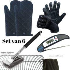 Gohh® Set van 2 BBQ Handschoenen (Kevlar-Aramide), 2 Canvas Ovenwanten, 1 BBQ Borstel met Schraper en 1 Zwarte Inklapbare Vleesthermometer