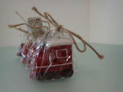 Rode Merkloos / Sans marque Stoomlocomotief kerst kaars set (4 stuks)